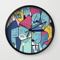 steve zissou Wall Clocks featuring The Life Acquatic with Steve Zissou by Ale Giorgini