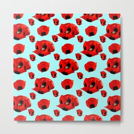 Poppies 5 with Turquoise Background Metal Print