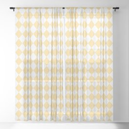 Yellow Buttercup Modern Diamond Pattern on White Sheer Curtain
