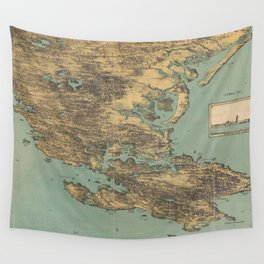 Vintage Pictorial Map of Cape Ann (1879) Wall Tapestry