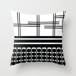 Matchy Stripes 2 Black and White Pattern Throw Pillow