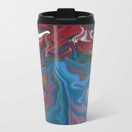 abstract oil pattern Metal Travel Mug