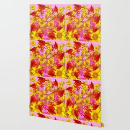 AWESOME RED AMARYLLIS & YELLOW COREOPSIS RED ABSTRACT GARDEN Wallpaper