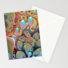 The Egg Maiden, Bearded Dragon Lizard Art Stationery Cards
