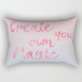 Create Magic  inspirational typography pastel watercolor Rectangular Pillow