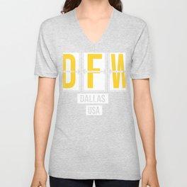 DFW - Dallas Fort Worth Airport Code - Texas Airport Code Souvenir or Gift Design Unisex V-Neck