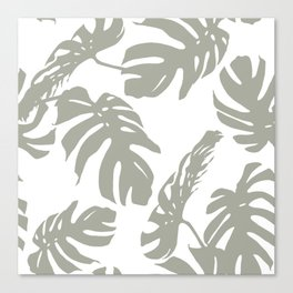 Simply Retro Gray Palm Leaves on White Canvas Print