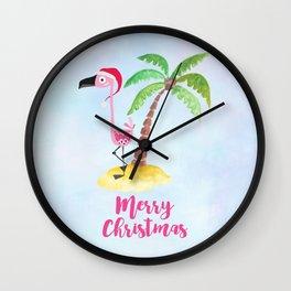 Pink Flamingo and Palm Tree Christmas Illustration Wall Clock