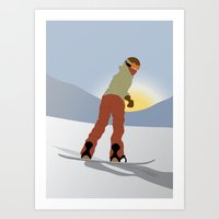 snowboard Art Prints featuring Snowboard Illustration by Nikki Gagliardo