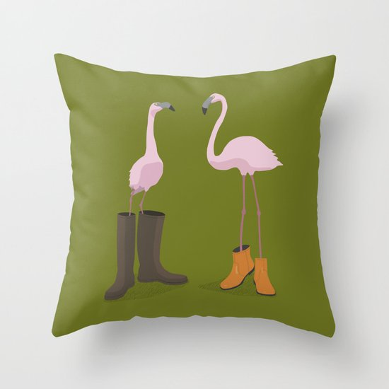 Fashion Flamingos Throw Pillow