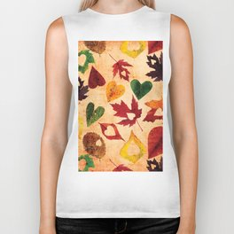 Happy autumn - hearts and leaves pattern Biker Tank