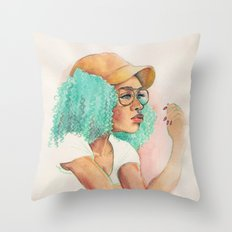 Minty Curls Don't Care Throw Pillow