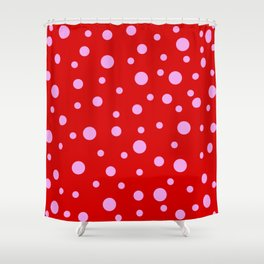 Pink Dots on Red Shower Curtain