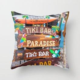 Which Way Tiki Bar Throw Pillow