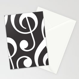 Clef music notes white grey Stationery Cards