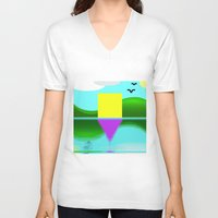 illusion V-neck T-shirts featuring Illusion by Cs025