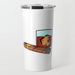 """Gotta Tap Dat Ash"" T-shirt Design Whiskey Ice Cubes Smoke Smoking Alcol Drunkard Alcoholism Alcohol Travel Mug"