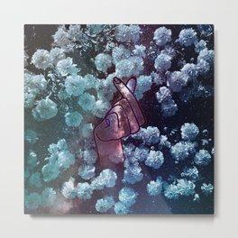 Love Finger Snap Space Floral Metal Print