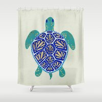 sea turtle Shower Curtains featuring Sea Turtle by Cat Coquillette