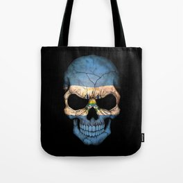 Dark Skull with Flag of El Salvador Tote Bag