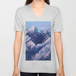 Textured Mountain Painting for Dad Unisex V-Neck