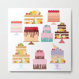 Birthday, valentine's day, wedding, engagement. Set sweet cake, fruits, berries Metal Print