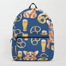Majesty Pembroke - Happy Corgis On Octoberfest Bavaria Germany - Bavarian Blue Backpack