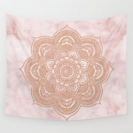 Rose gold mandala - pink marble Wall Tapestry