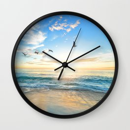 Blue Sky with Birds Wall Clock