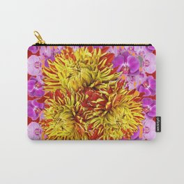 Abstracted Yellow Chrysanthemums Floral & Orchids Carry-All Pouch