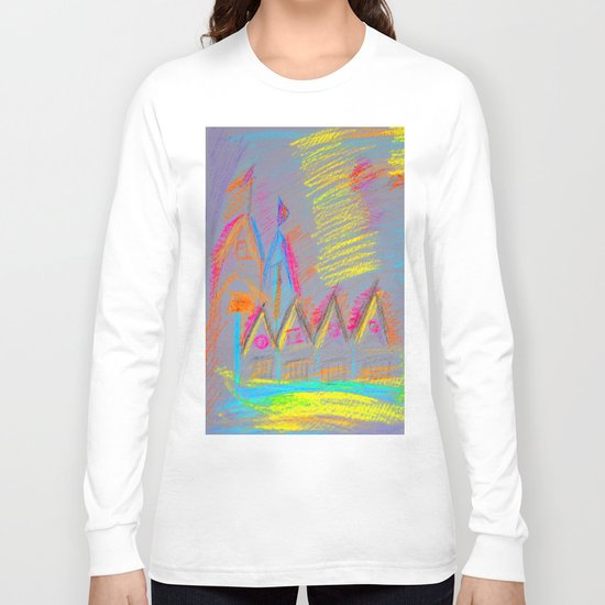 Colorful Village | Kids Painting Long Sleeve T-shirt