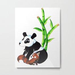 Panda Duo Metal Print