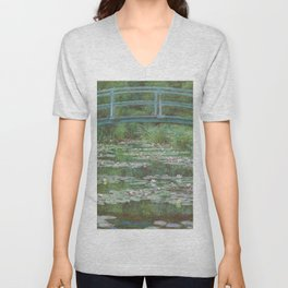 Claude Monet The Japanese Footbridge 1899 Painting Unisex V-Neck