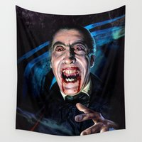 dracula Wall Tapestries featuring Christopher Lee Dracula Horror Movie Monsters by Scott Jackson Monsterman Graphic