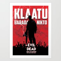 evil dead Art Prints featuring Evil Dead by Constantine Vintage Poster Design