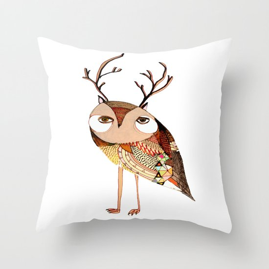 owl print, owl illustration, owl art, owl  Throw Pillow