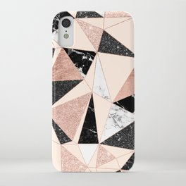 Modern black white marble rose gold glitter foil geometric abstract triangles pattern iPhone Case