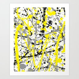 Yellow Grey and Black Ink Splatter on White Art Print