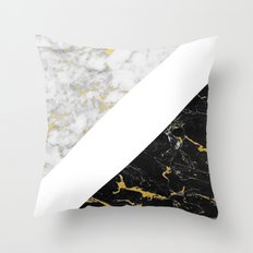 Marble Mix // Gold Flecked Black & White Marble II Throw Pillow