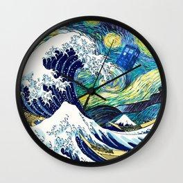 Starry Night Tardis Flying Wall Clock