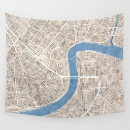 New Orleans Cobblestone Watercolor Map Wall Tapestry