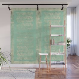 Antiqued Teal Panel Geometric Wall Mural