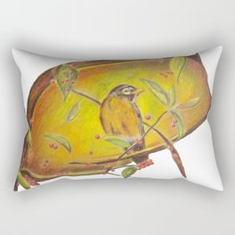 Festive Christmas Bird on a Berry Tree for Autumn and the Holidays Rectangular Pillow