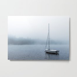 Foggy Lake with Boat ii Metal Print