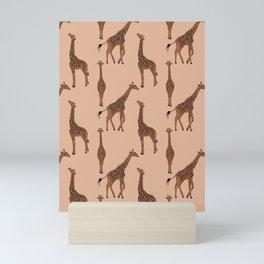 Giraffe neutral pattern Mini Art Print