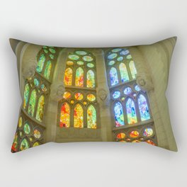 Stained Glass Sagrada Familia Rectangular Pillow