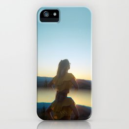 Golden Girl in the Grasslands - Holga film photograph during sunset near Bend, Oregon iPhone Case