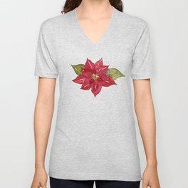 Watercolor Red Poinsettia Flower, Holiday Decor, Christmas Decor, Unisex V-Neck