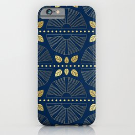 Navy & Gold Art Deco Fans iPhone Case