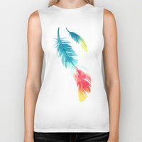 feather Biker Tanks featuring Feather by Freeminds